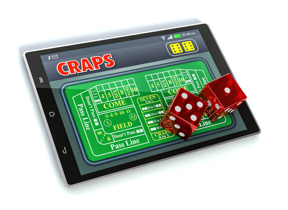 playing craps on tablet